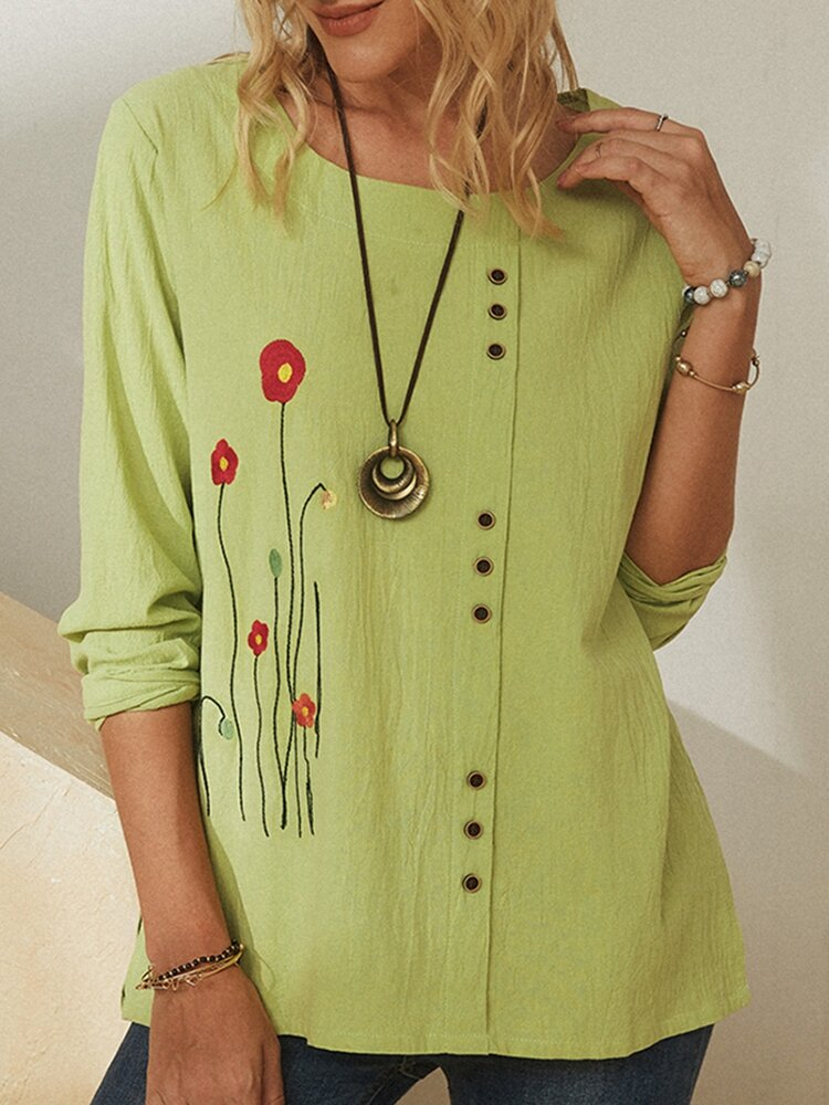 Flower Embroidery Button O-neck Long Sleeve Blouse For Women