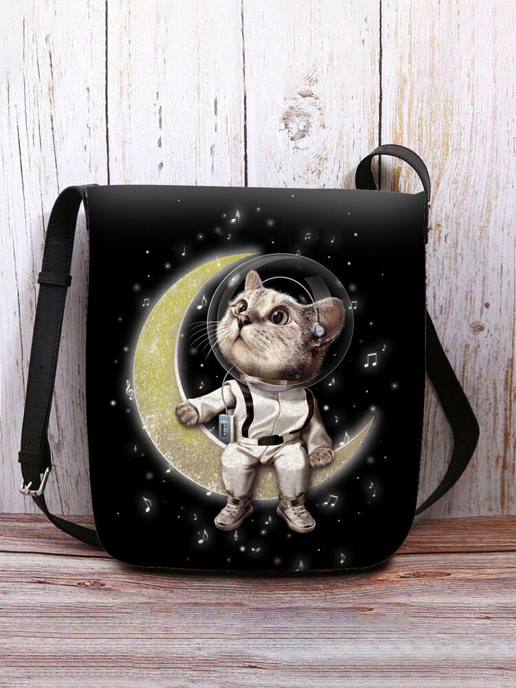 Women Cat Astronaut Moon Pattern Print Crossbody Bag Shoulder Bag
