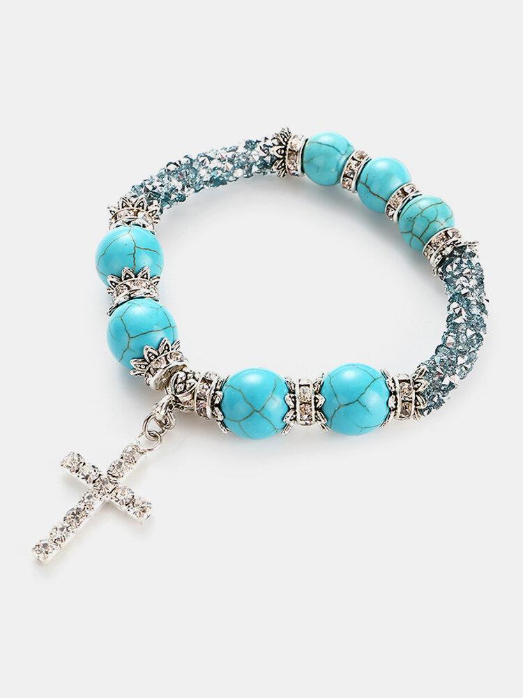 Boho Rhinestones Natural White Blue Turquoise Stone Beads Cross Bracelets Gift for Women