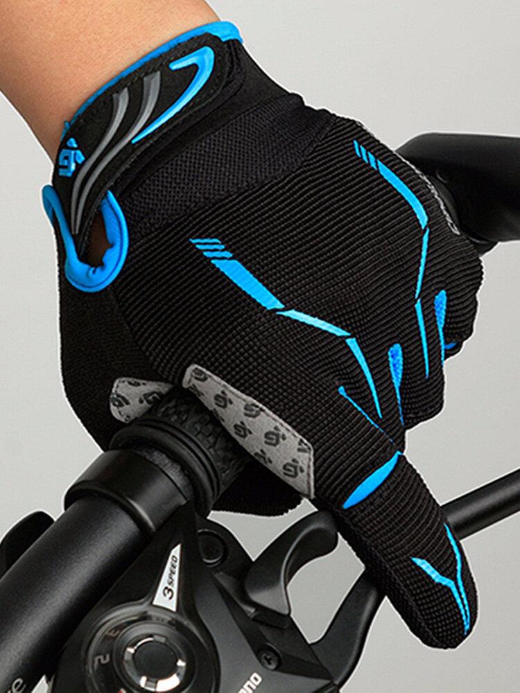 Men Mesh Cycling Touch Screen Full Finger Gloves Waterproof Windproof Outdoor Sport Mittens