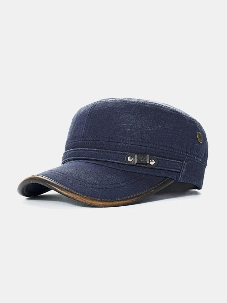 Mens Cotton Outdoors Solid Sunshade Baseball Cap Flat Service Fashion Hat Winter Windproof
