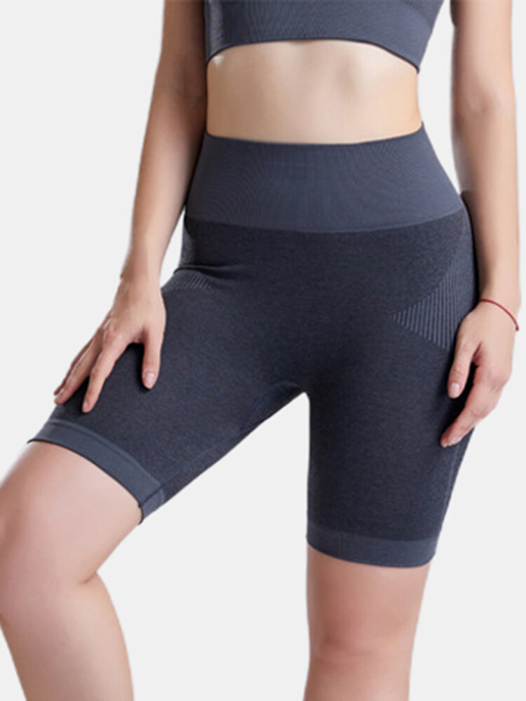 Women Banded Biker Shorts Patchwork Dry Quick Sports Panty