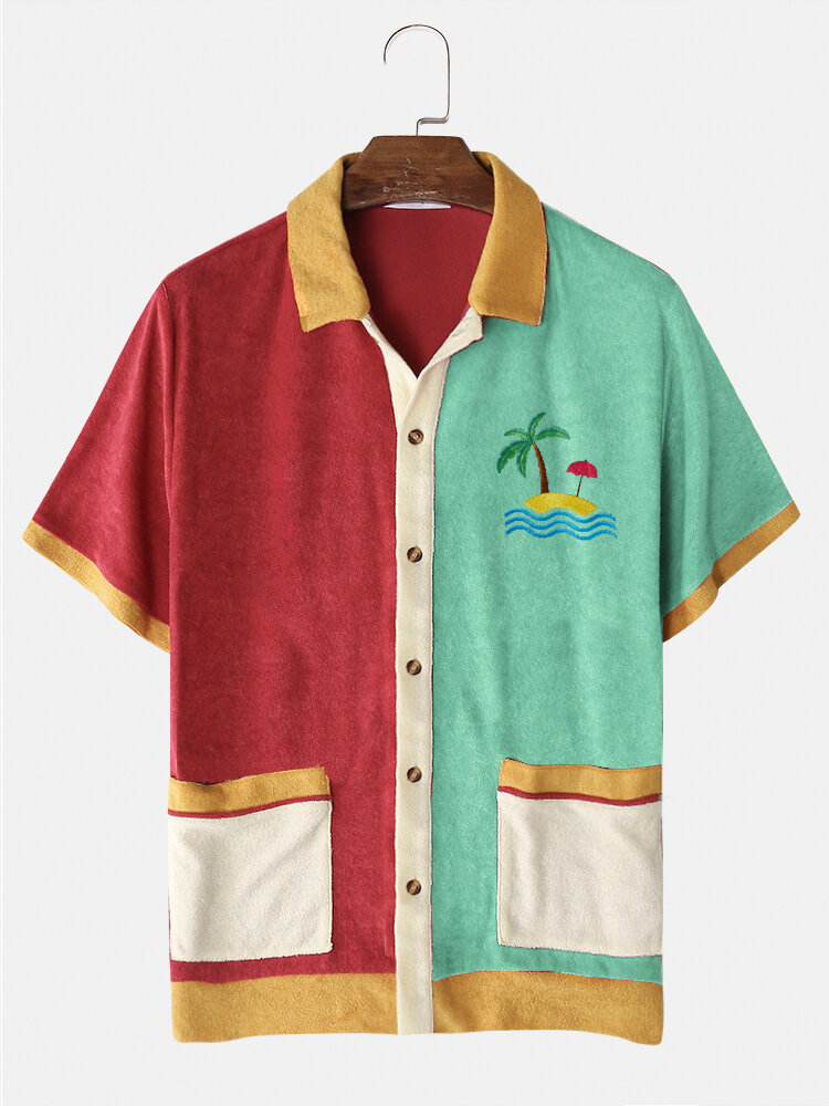 Mens Tropical Embroidery Patchwork Double Pocket Towelling Short Sleeve Shirts