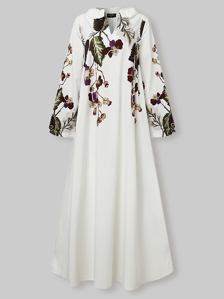 Calico Long Sleeve V-neck Casual Print Dress For Women