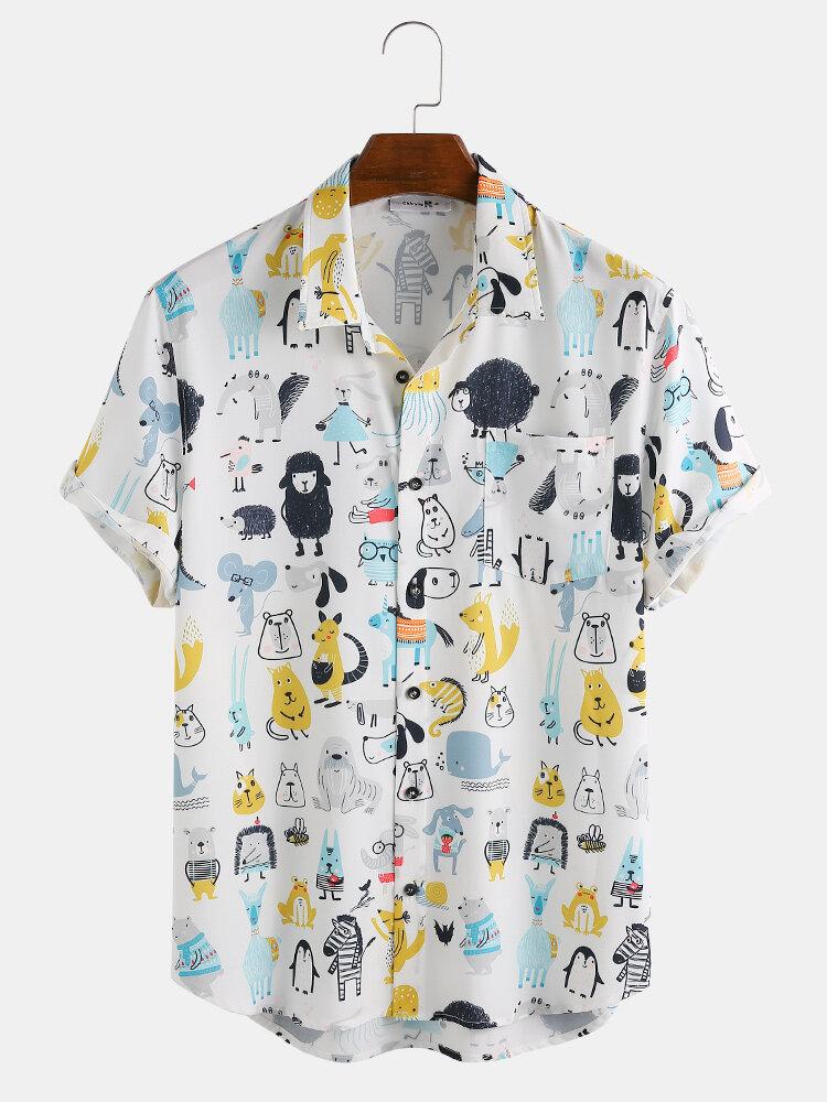 Mens Funny Animals Cartoon Print Chest Pocket Short Sleeve Shirts
