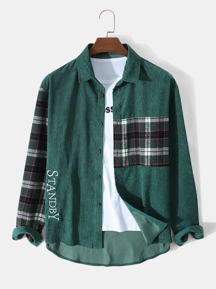 Mens Corduroy Plaid Patchwork Letter Embroidered Casual Long Sleeve Shirts
