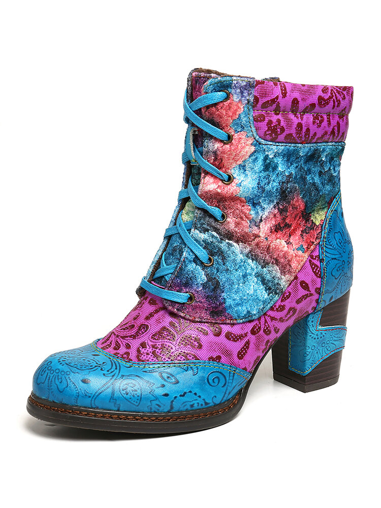 SOCOFY Embossed Genuine Leather Colorful Cloud Pattern Fashion High Heel Lace Up Boots