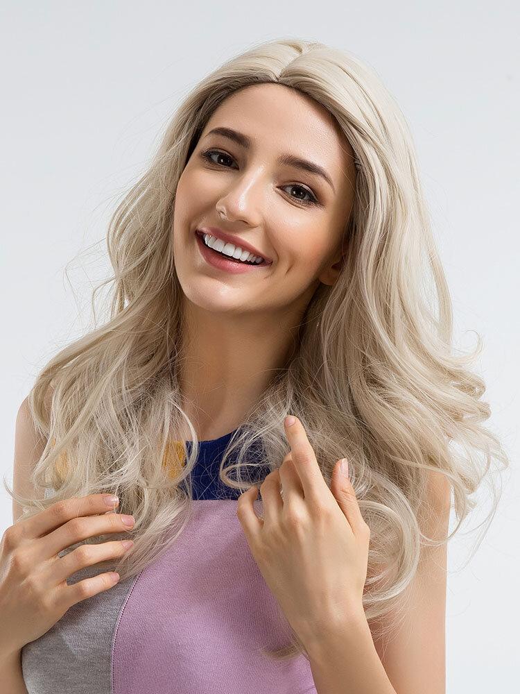 60cm Damen Synthetische Perücken Hochtemperatur Seidenfaser Haar Langes Welliges Silbernes Weißes Kunsthaar