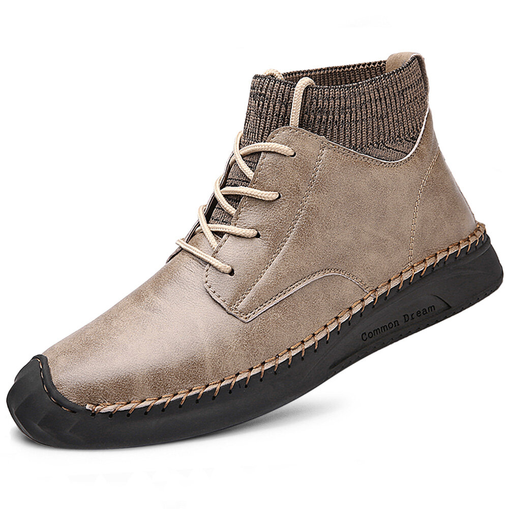 Men British Style Hand Stitching Anti-collision Toe Sock Ankle Boots