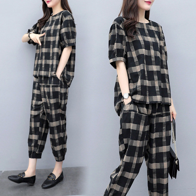 Plaid Suit Women's Cotton And Linen Large Size Casual Short-sleeved Nine-point Pants Was Thin Linen Two-piece Loose Tide