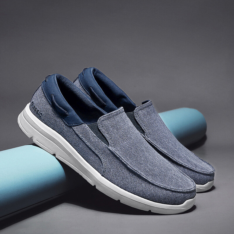 Men Old Peking Canvas Comfy Breathable Slip On Casual Flats