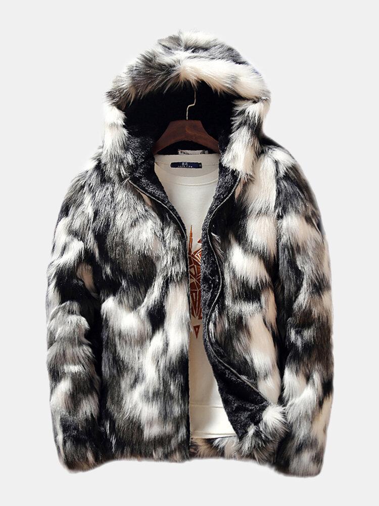 メンズ冬のフェイクファーフリース裏地厚く暖かいフード付きカジュアルジッパージャケット
