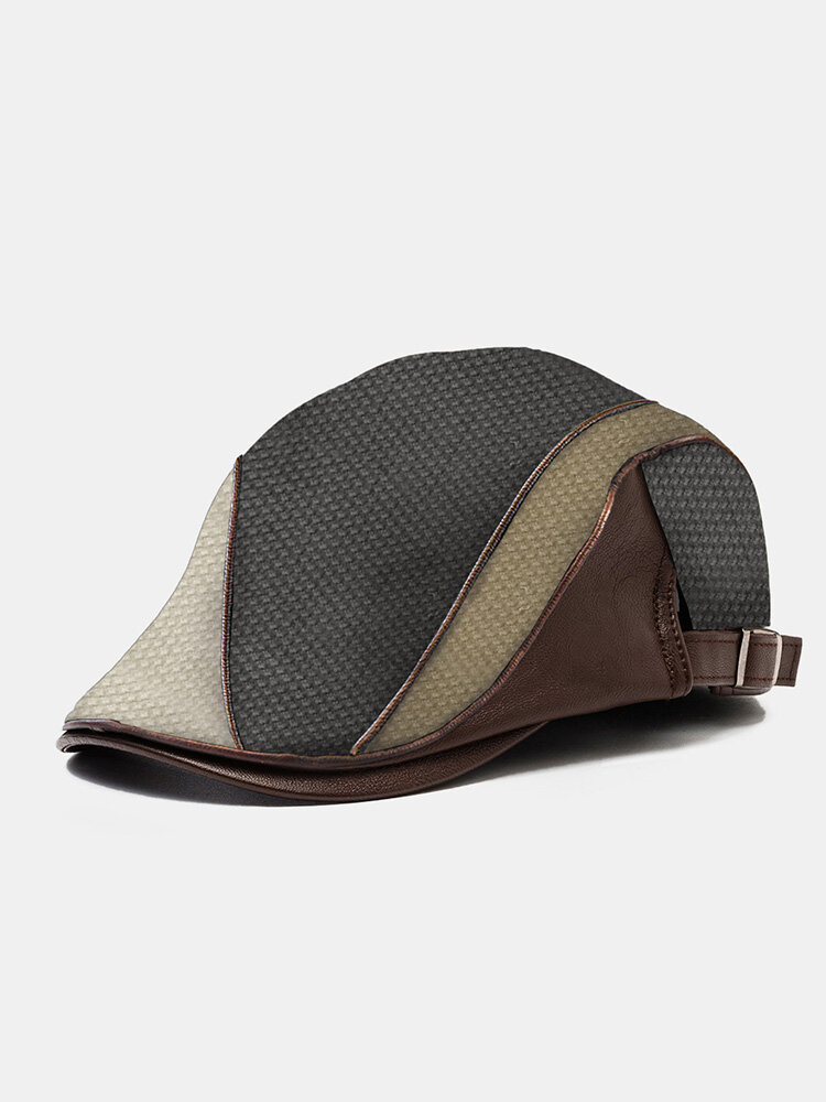 Collrown Men PU Corn Grid Patchwork Knitted Color-match Adjustable Casual Beret Flat Cap