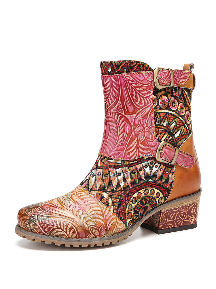 SOCOFY Retro Cloth Splicing Flower Embossed Cowhide Leather Slip Resisstant Chunky Heel Short Boots