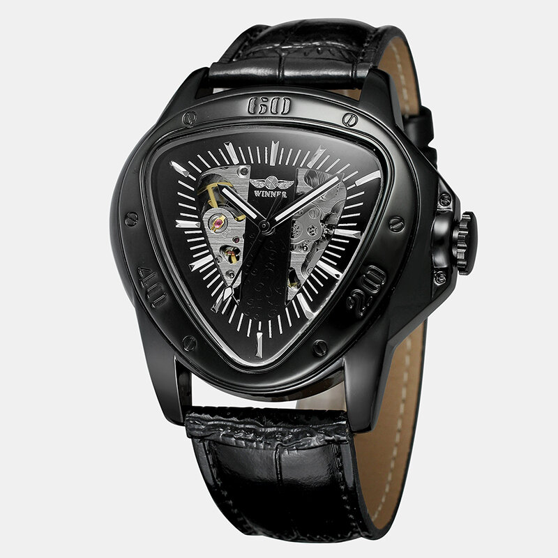 Leisure Business Men Watch Triangle Dial Leather Band Waterproof Mechanical Watch, newchic  - buy with discount