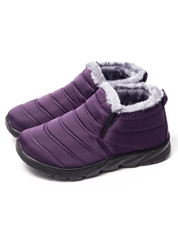 LOSTISY Waterproof Warm Lining Casual Winter Snow Slip On Ankle Boots