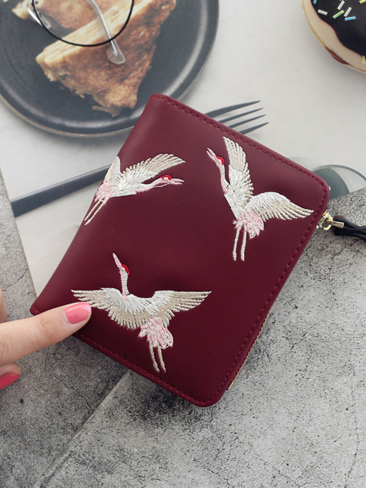 Women PU Leather Crane Embroidered Bags Card-slots Mini Small Wallet Purse