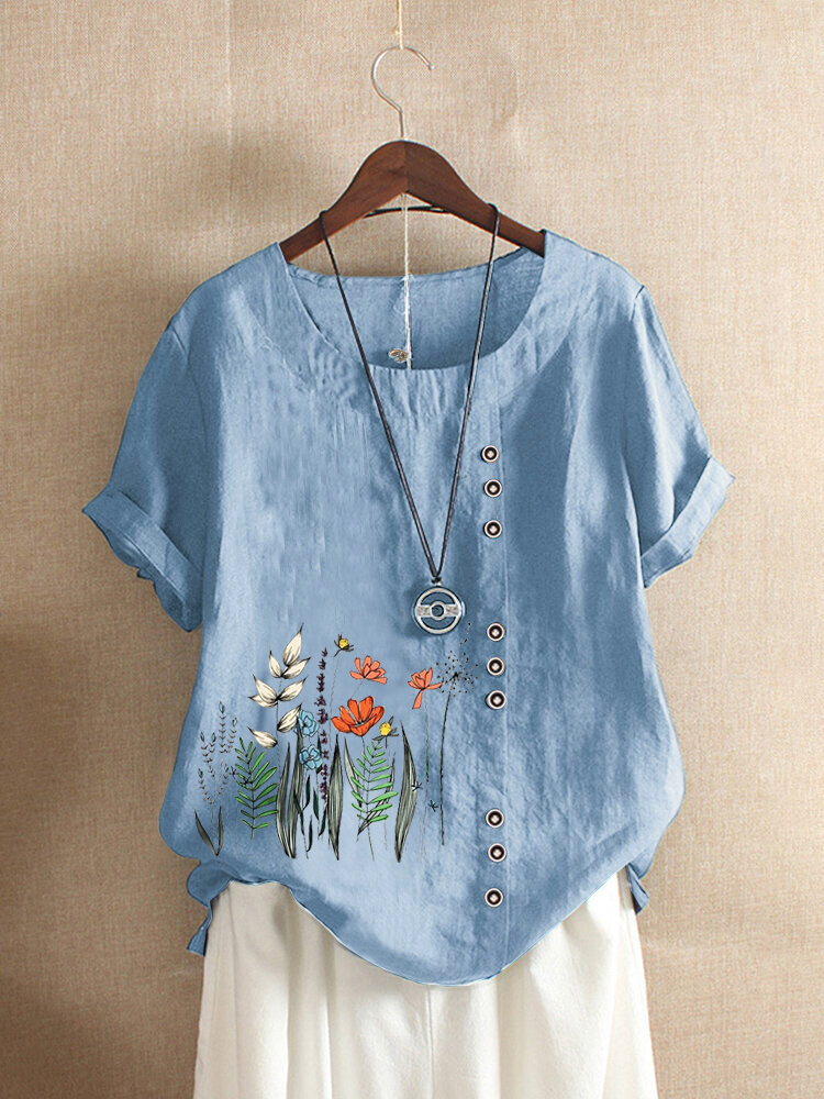 Flowers Print O-neck Plus Size T-shirt for Women