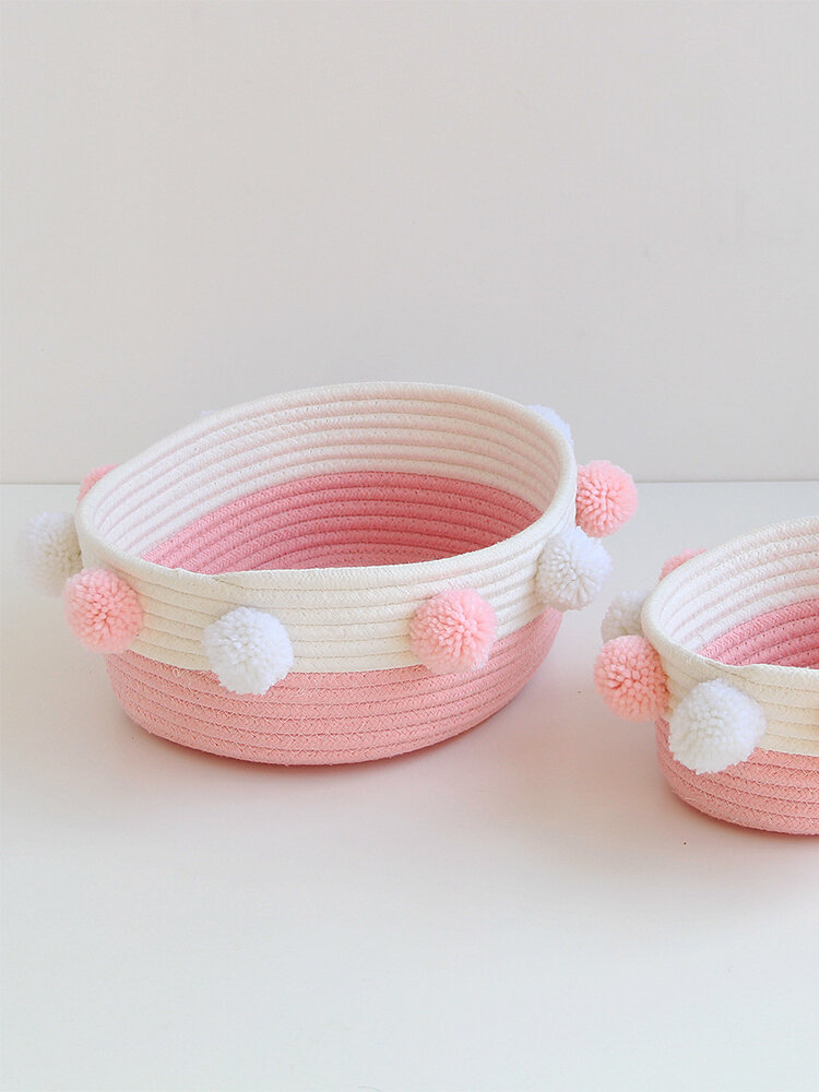 Handmade Knitted Storage Basket Fuzzy Ball Cosmetics Storage Hamper Nordic Style Sundry Box