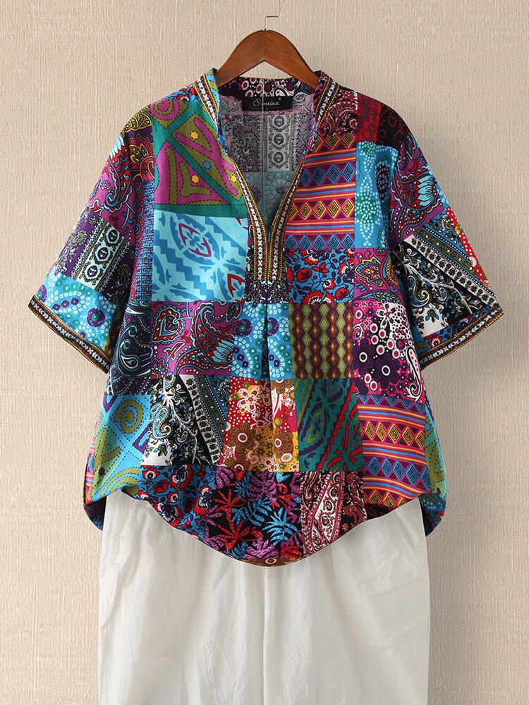 Vintage Ethnic Style Floral Print Plus Size Cotton Shirt