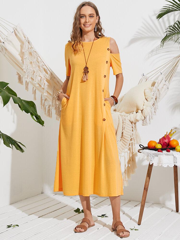 Lässiger schulterfreier Knopf lang Kleid für Damen