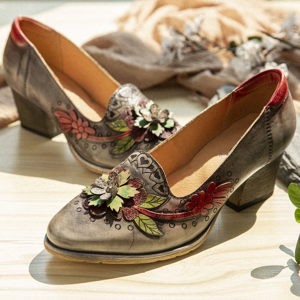 SOCOFY Retro Splicing Floral Leather Slip On Block Heel Pumps Dress Shoes