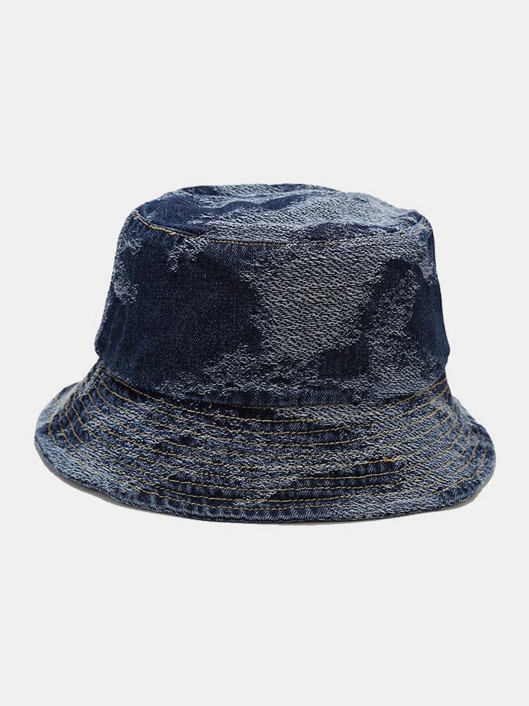 Unisex Washed Denim Solid Color Ripped Hole Fashion Sunshade Bucket Hat