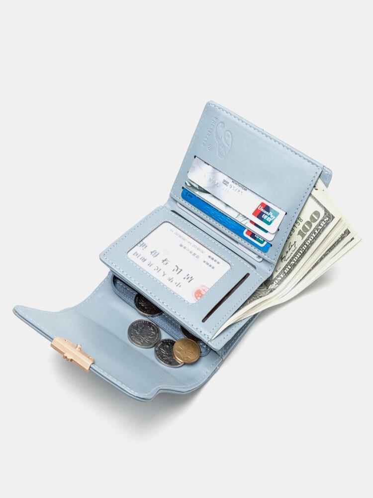 Line Diseño Cartera de embrague decorativa con hebilla acolchada Monedero con múltiples ranuras para tarjetas