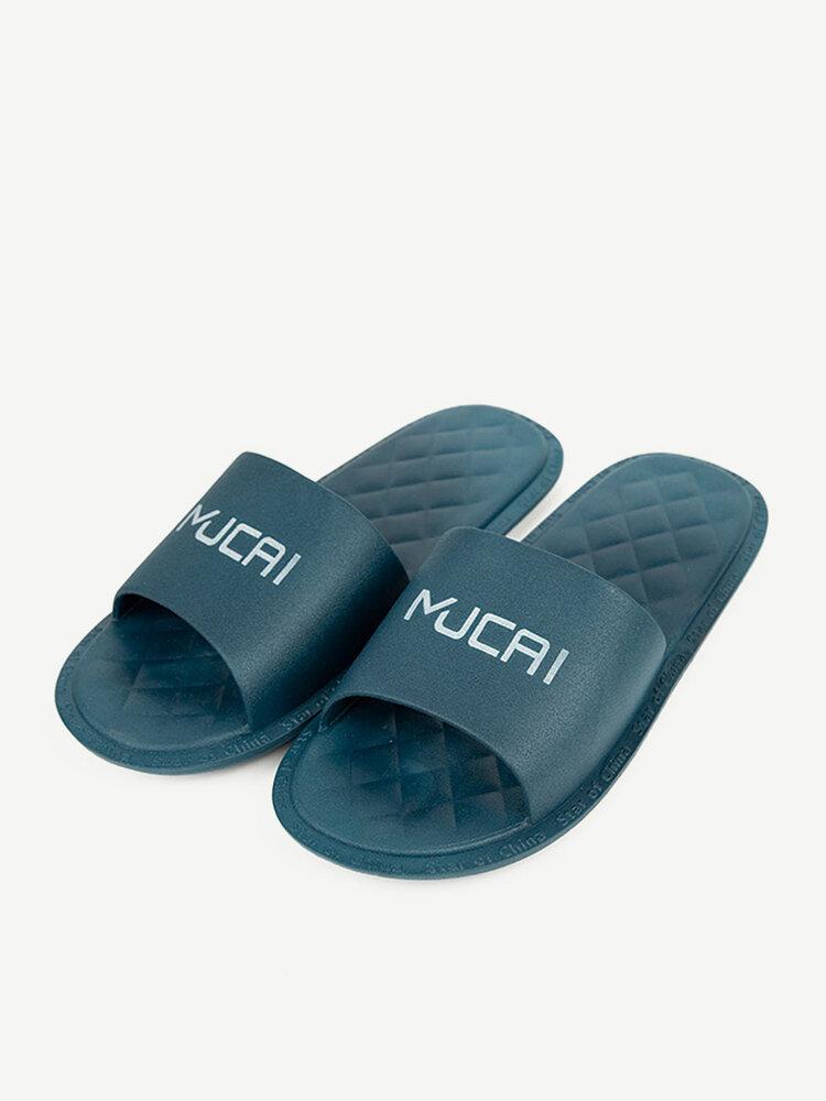 Women Casual Comfortable Letter Pattern Argyle Flat Slides Slippers