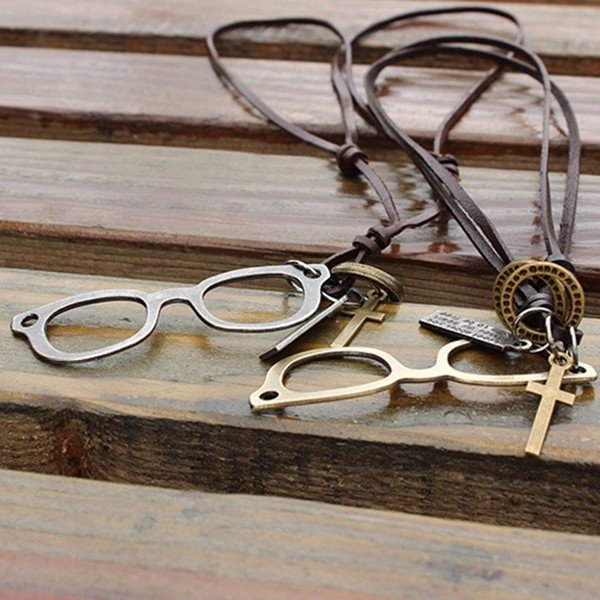 Couple Punk Alloy Glasses Cross Medal Leather Necklace