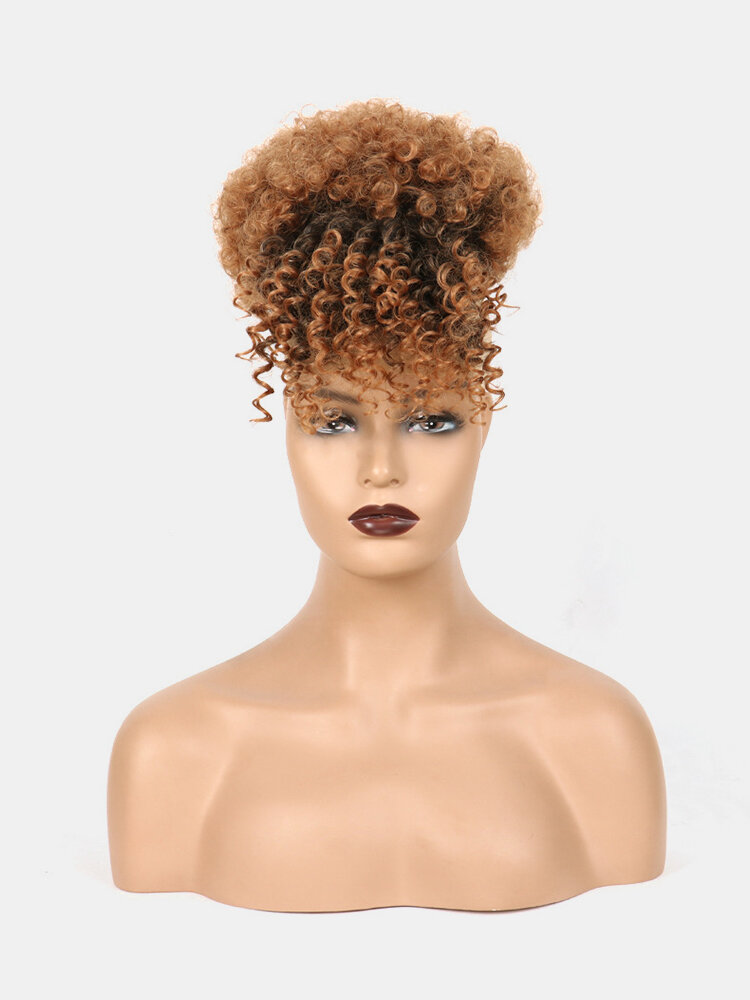 5 Colors Africa Small Curly Short Wig Fluffy Bangs Explosive Head Hair Bag