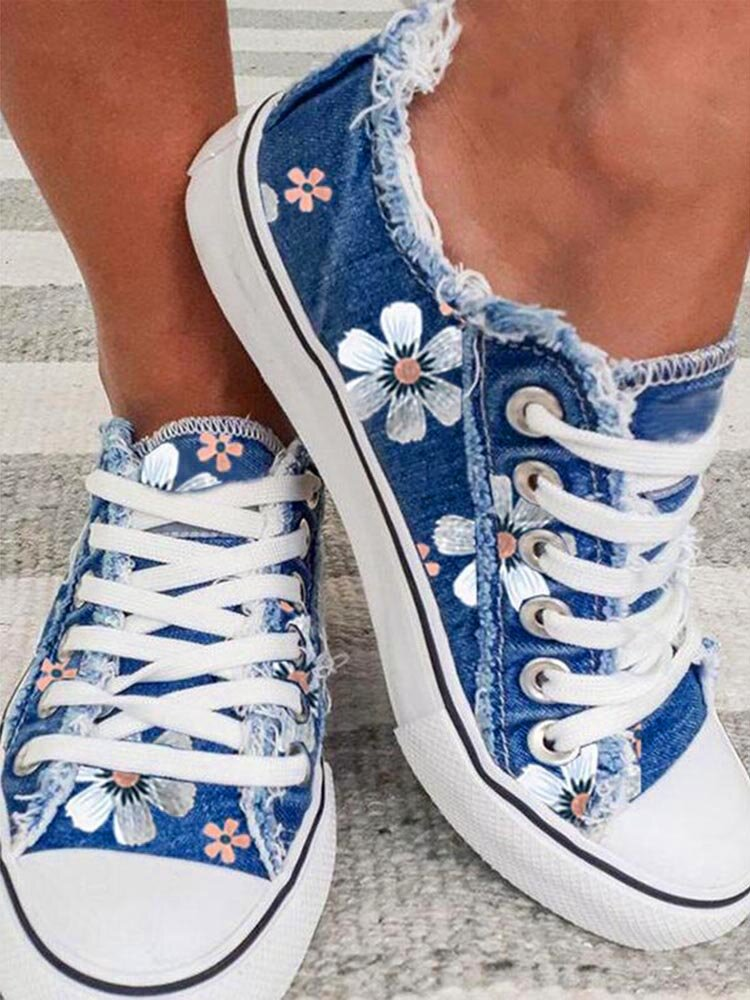 Large Size Women Printing Flowers Denim Cloth Lace Up Flat Skate Shoes
