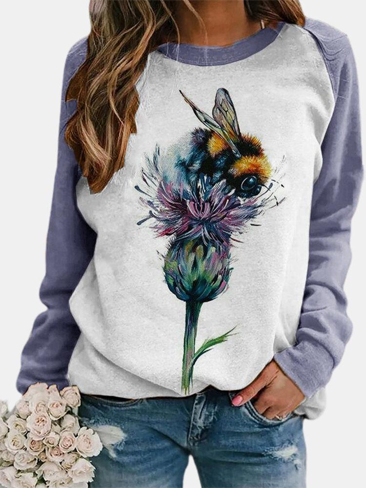 Flower Bee Print Long Sleeves Casual Sweatshirt for Women