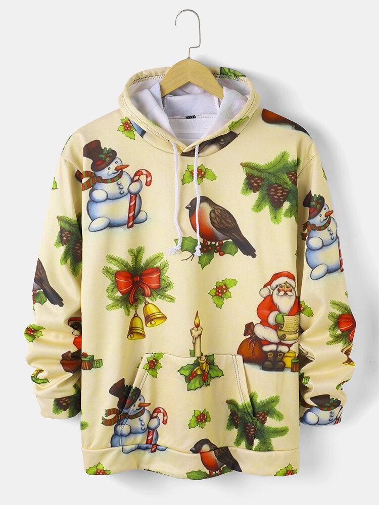 Mens Cartoon Christmas Pattern Print Drawstring Hoodie With Kangaroo Pocket