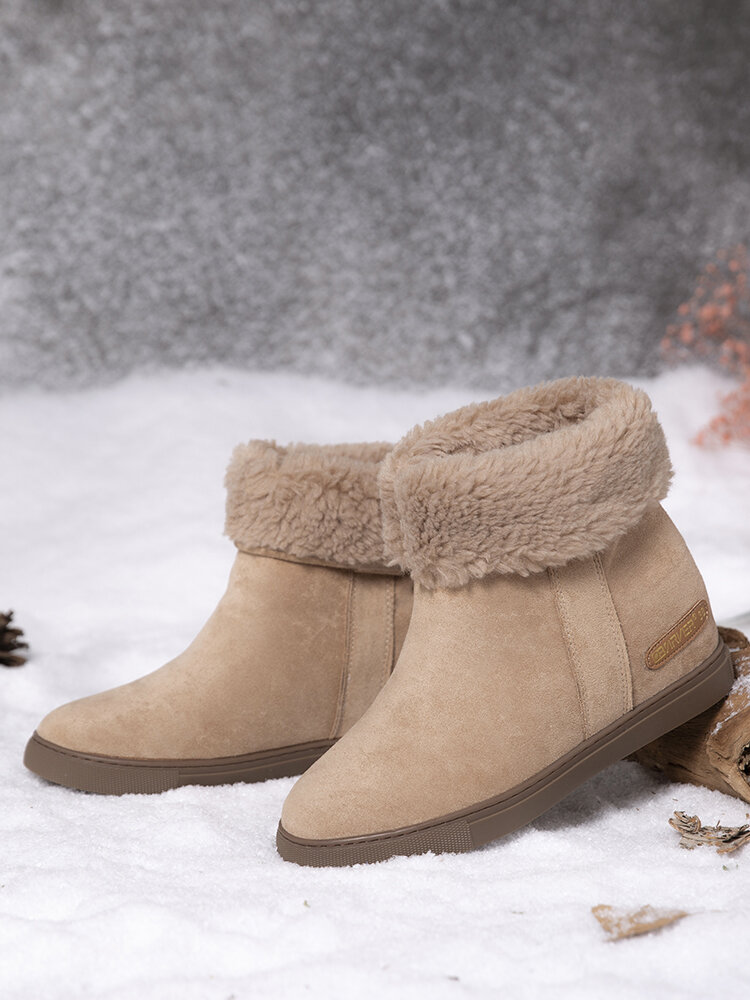 Women Solid Color Casual Comfortable Wearable Flat Warm Snow Short Boots