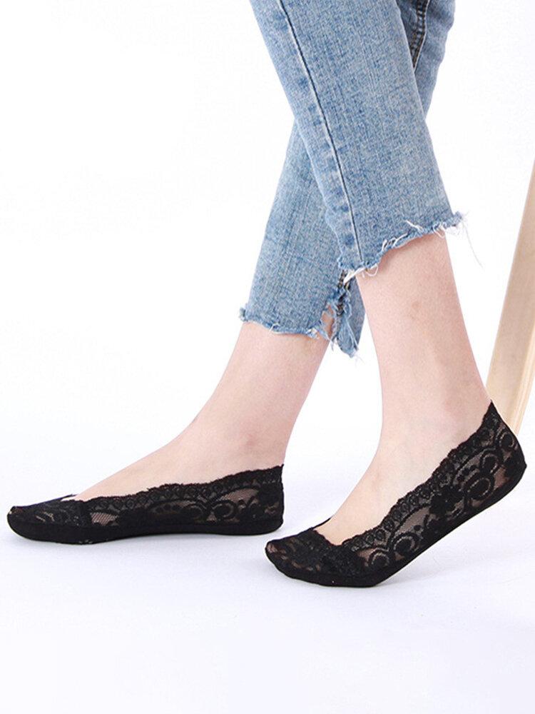 女性の夏の甘い通気性のあるレースの滑り止めのシリコーンの見えないボートの靴下の香の浅い靴下