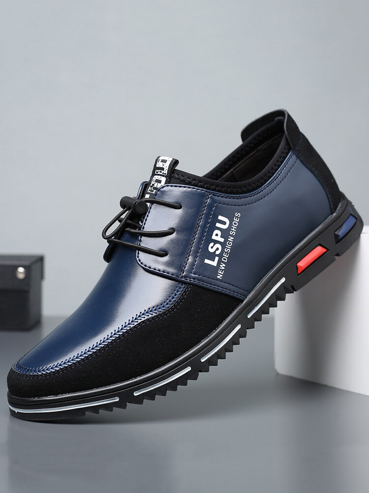 Men Microfiber Leather Splicing Soft Sole Lace Up Business Casual Shoes