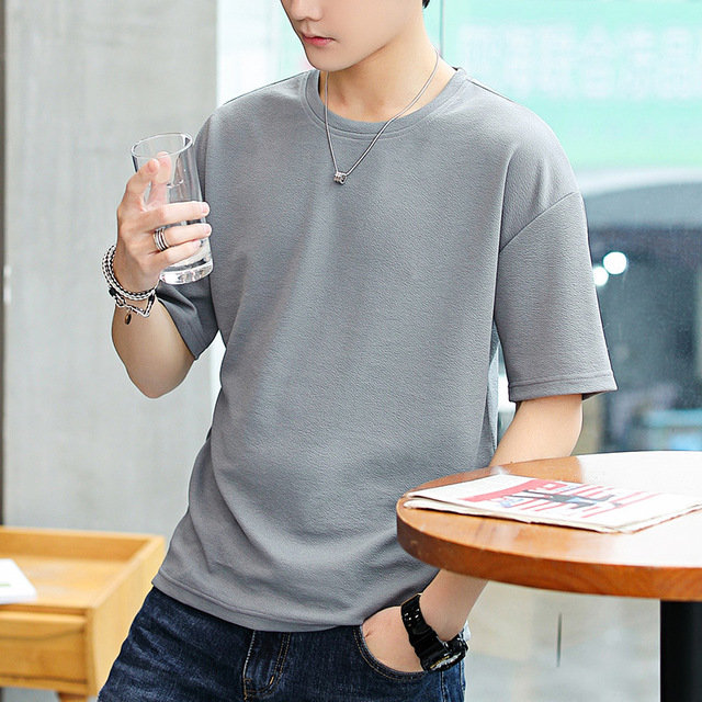 Season Men's Short-sleeved T-shirt Trend Loose Short-sleeved Solid Color T-shirt Fitted With Clothes T-shirt Male