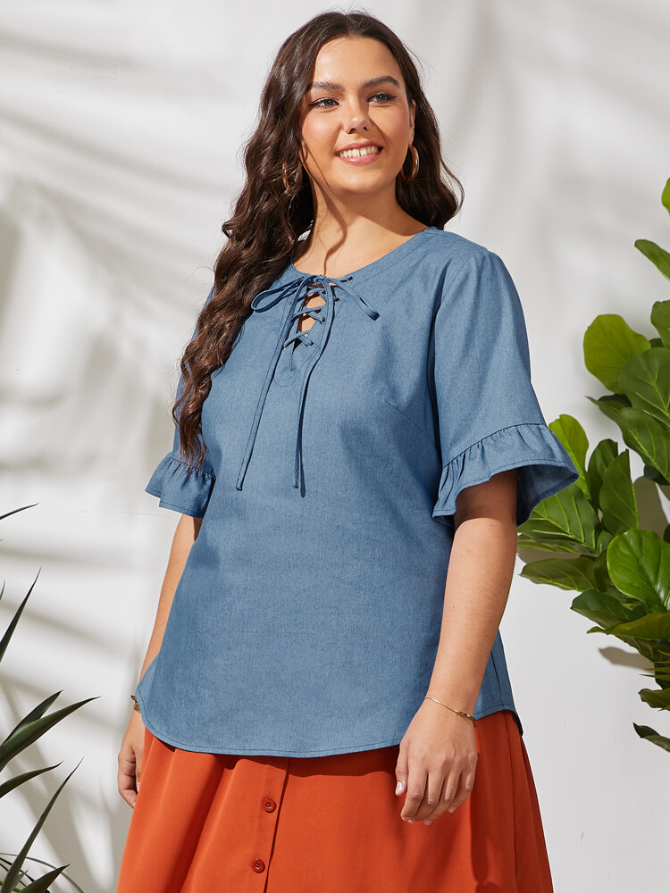 Solid Color Knotted O-neck Fungus Half Sleeve Plus Size Casual Blouse