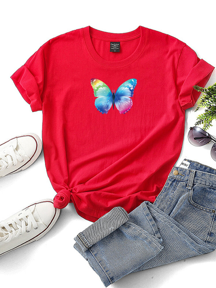 Butterfly Printed Short Sleeve O-neck T-shirt For Women