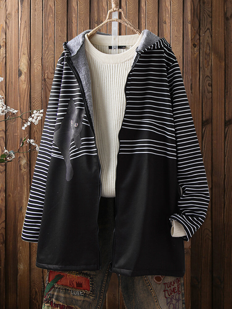 Cat Striped Print Long Sleeve Vintage Hooded Plus Size Coat