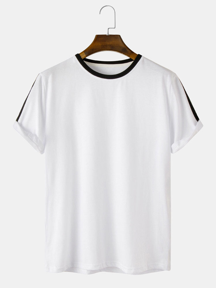 Mens Solid Color Casual Patchwork Binding Short Sleeve Casual T-Shirt