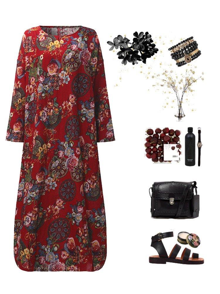 Vestido largo suelto retro floral estampado con mangas largas para mujeres