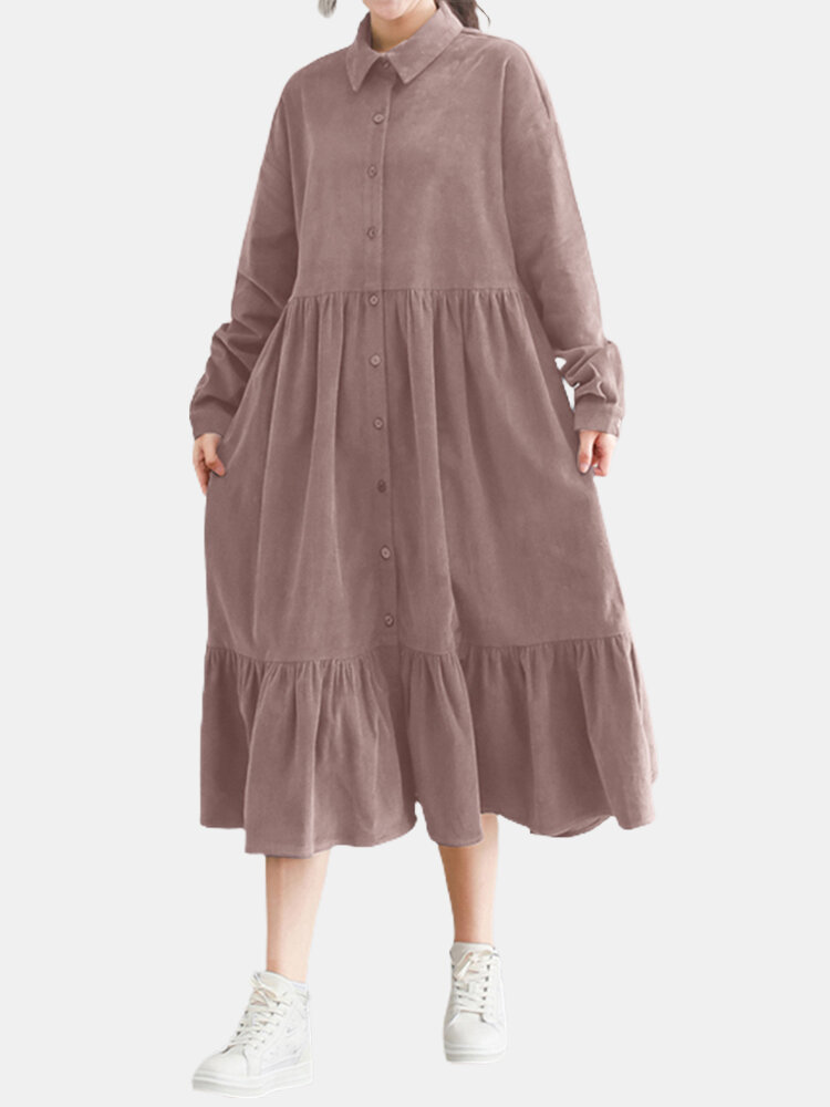 Solid Color Corduroy Patchwork Button Loose Casual Dress