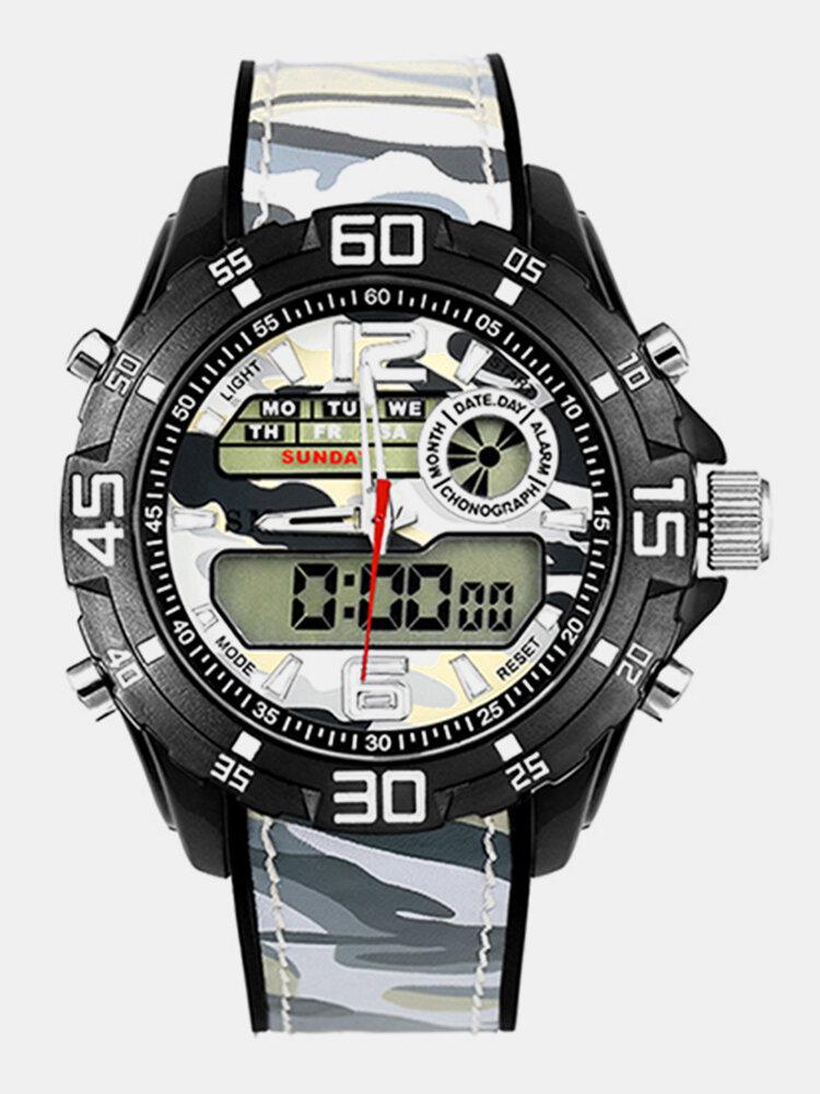 Sport Dual Display Digital Watch Men Luminous Alarm Sport Watch Camouflage Military Style Watch