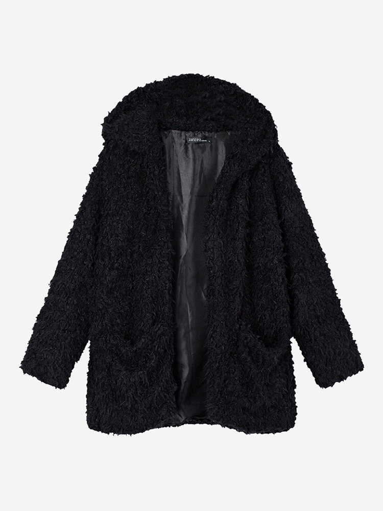 Casual Noble Fall Winter Warm Hooded Furry Coat Outwear