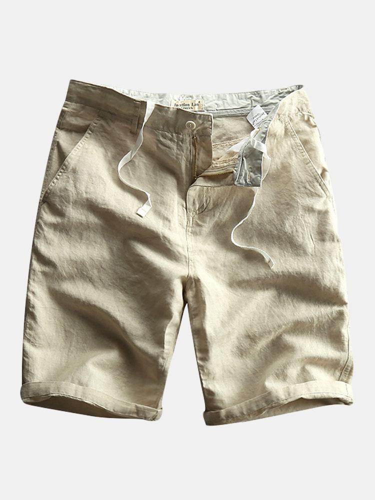 メンズ中国風コットンリネンジッパー無地膝丈カジュアル薄い夏のショーツ