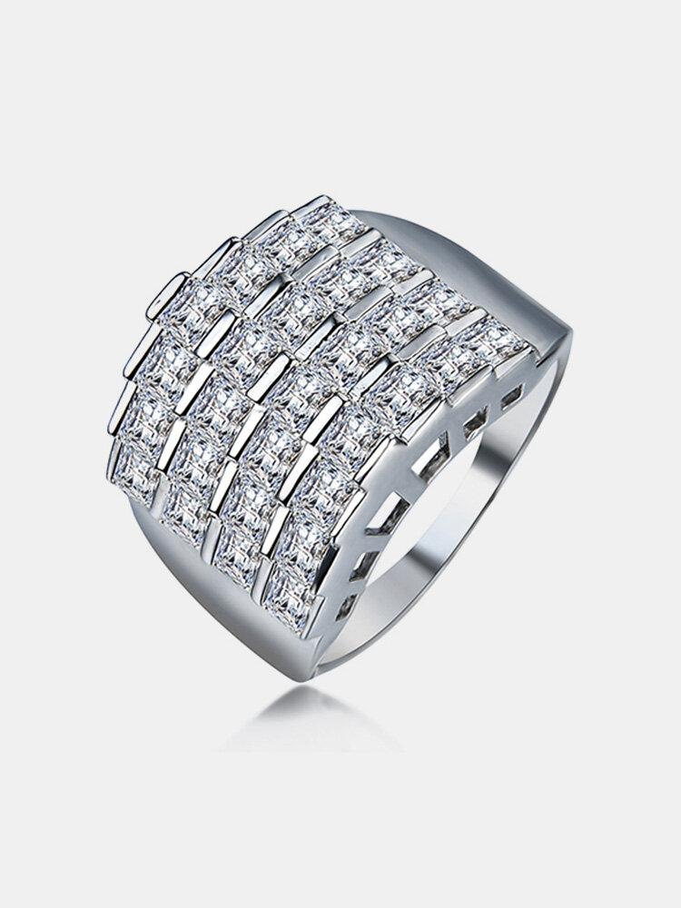 Women's Luxury Ring Big Platinum Zircon Ring