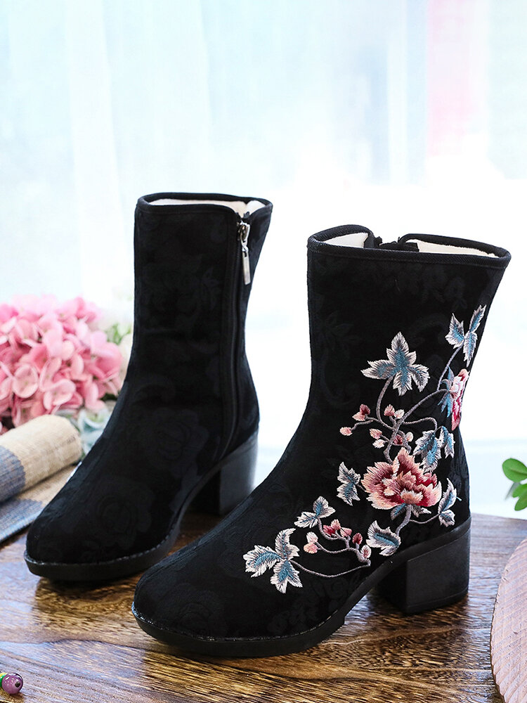 Winter Floral Embroidered Element Warm Lining Side-zip Comfy Women's Short Boots
