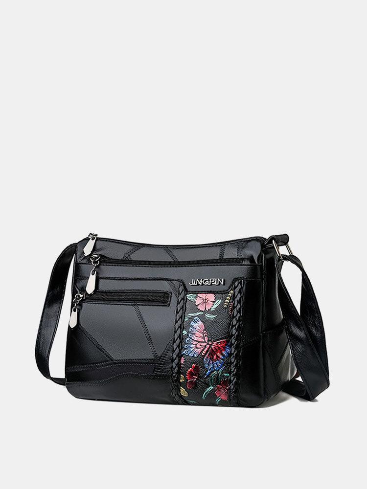 Women Casual Solid Flower Crossbody Bag
